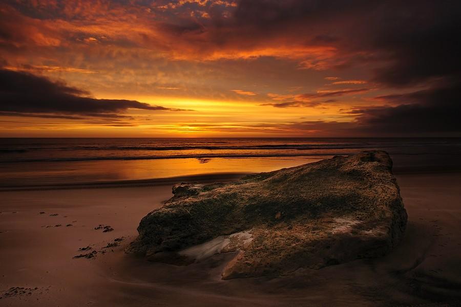 beach sunset. Baylys Beach Sunset